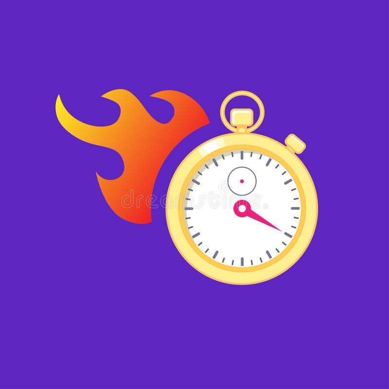 有火的秒表 运行时间的概念 库存例证