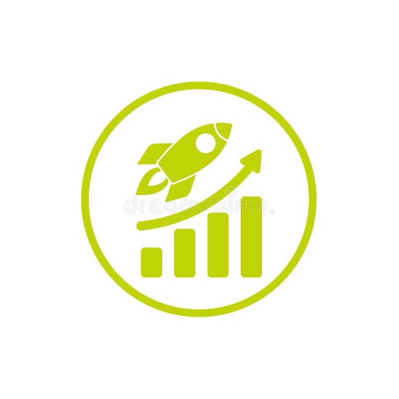 有火的绿色火箭队船和成长在绿色圈子用图解法表示 查出在白色 库存例证