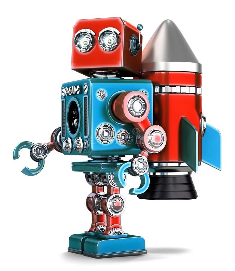 有火箭jetpack的减速火箭的机器人 查出 包含裁减路线 库存例证