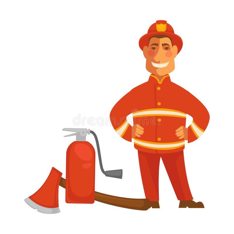 有灭火的设备灭火器和轴的消防员或消防队员制服导航平的象 库存例证