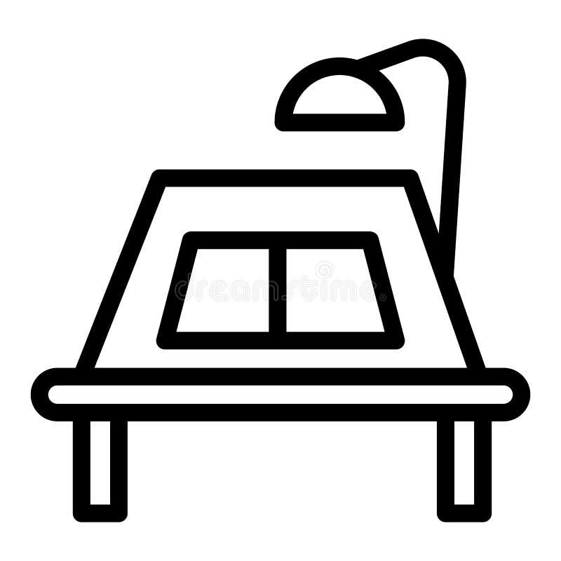 有灯和一条开放书线的象书桌 教育书桌在白色隔绝的传染媒介例证 与书概述的表 皇族释放例证
