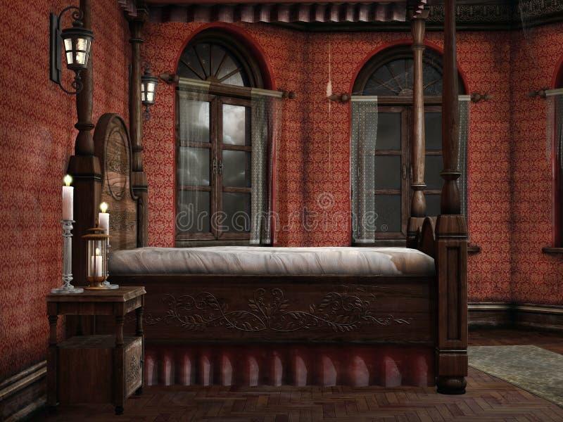 有灯和蜡烛的卧室 向量例证