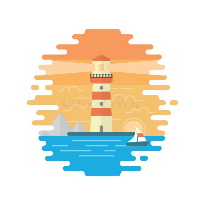 有灯塔的海 库存例证