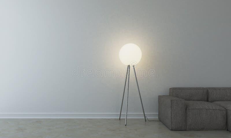 有灯的沙发在空的屋子里 免版税图库摄影