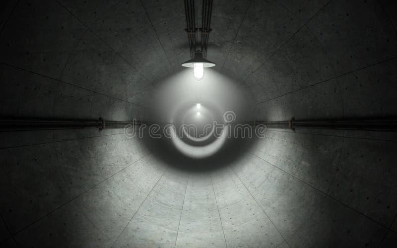 有灯的老黑暗的具体隧道 3d翻译 向量例证