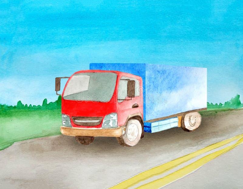 有灰体的一辆红色卡车在夏天和清楚运载在一条柏油路通过草甸和森林的货物天际的 库存例证