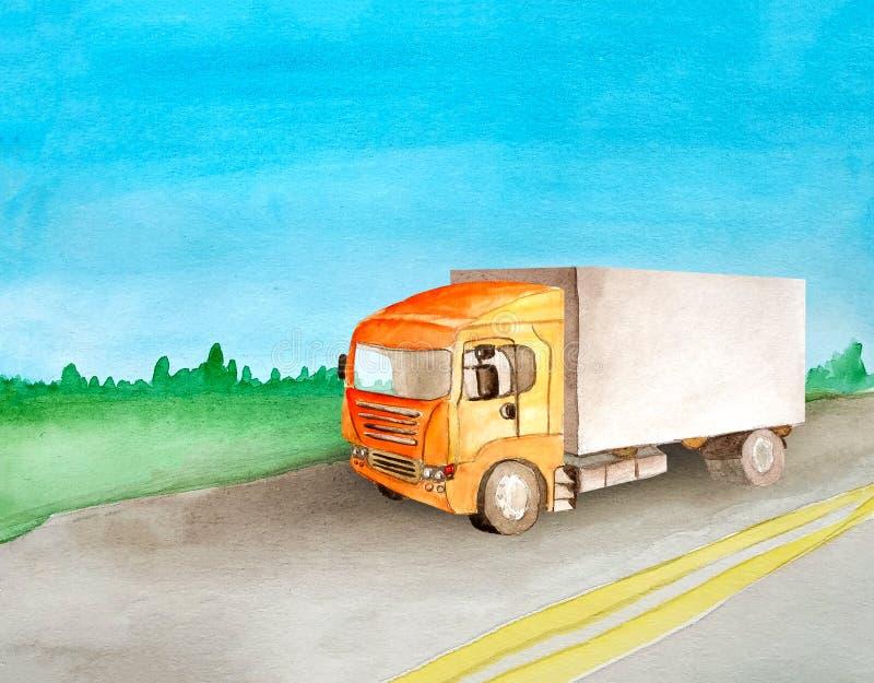 有灰体的橙色卡车在夏天和清楚运载在一条柏油路通过草甸和森林的货物天际的 皇族释放例证