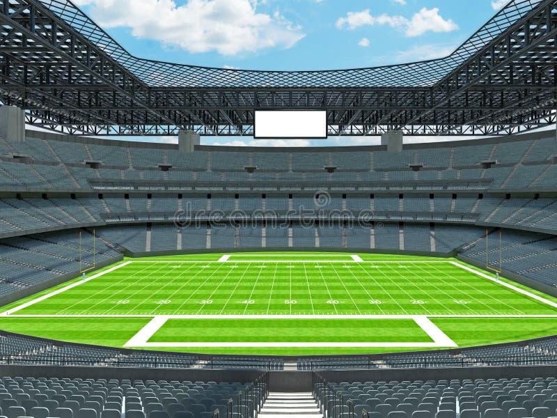 有灰色位子的现代橄榄球体育场 库存例证