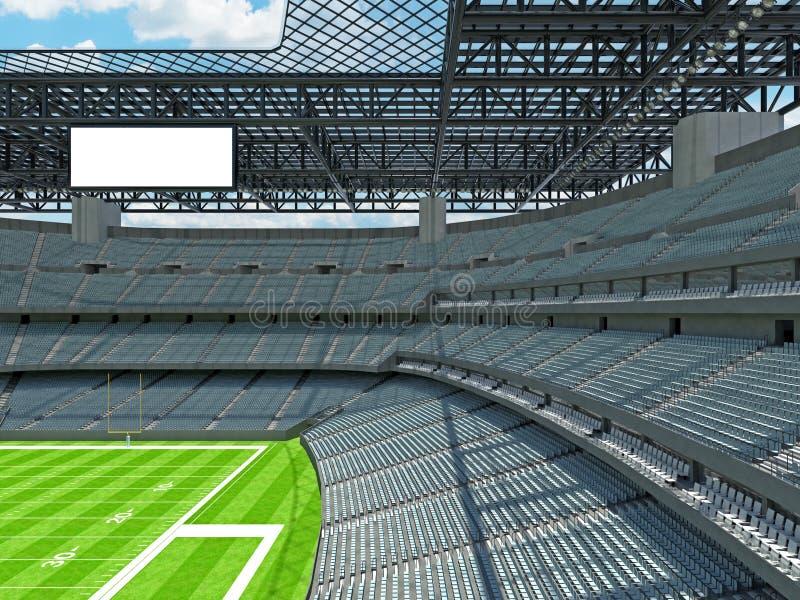 有灰色位子的现代橄榄球体育场 向量例证