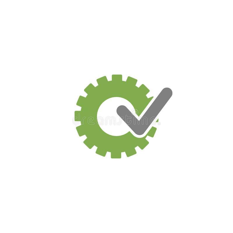 有灰色壁虱象的绿色齿轮 技术或创新的传染媒介平的例证 向量例证
