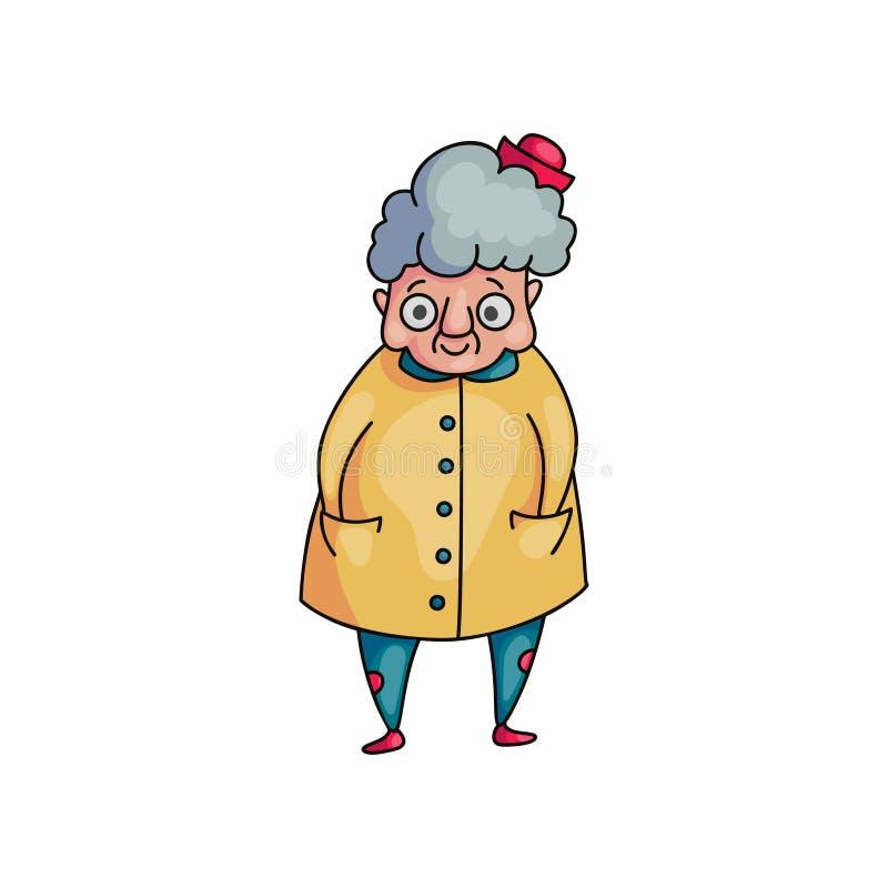 有灰色头发和黄色外套的逗人喜爱的滑稽的祖母 向量例证