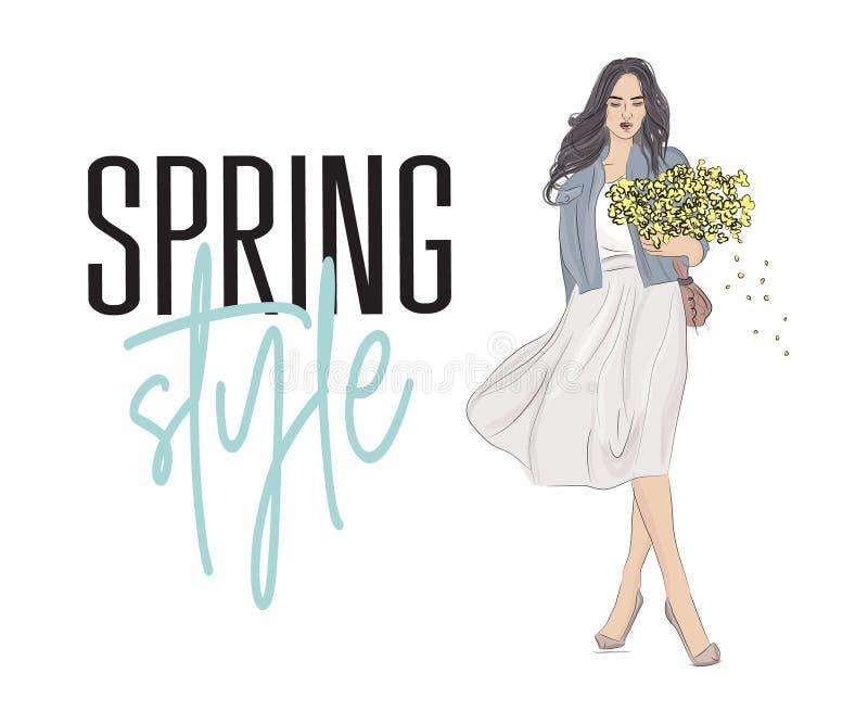 有灰色头发的时髦的女孩以时尚穿衣与花在手 蓬松裙子,牛仔裤夹克的手拉的美丽的女孩和 向量例证