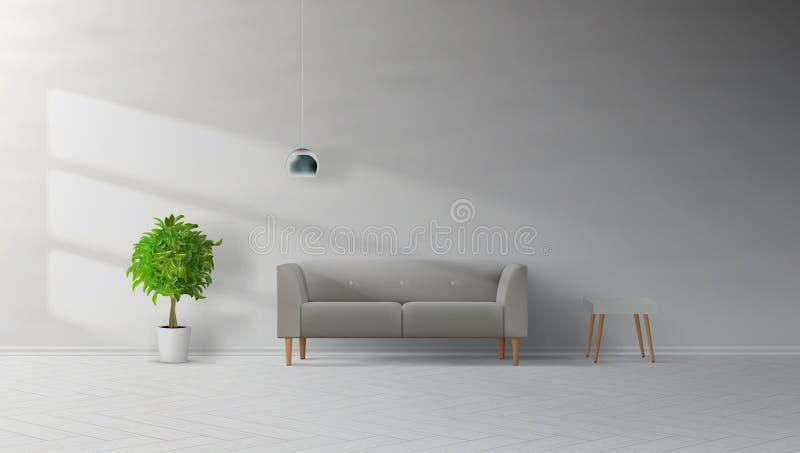 有灰色沙发、灯、表和植物的客厅内部干净的墙壁 库存例证