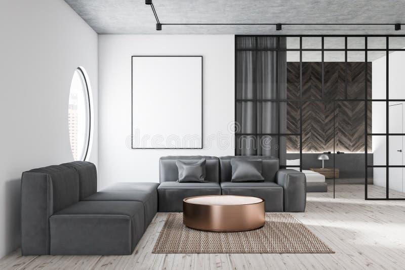 有灰色沙发和海报的客厅 库存例证
