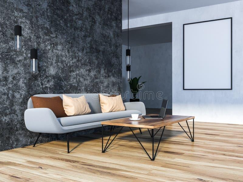 有灰色沙发和海报的灰色客厅 库存例证