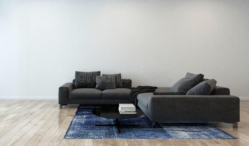 有灰色沙发的客厅在现代公寓 免版税库存图片