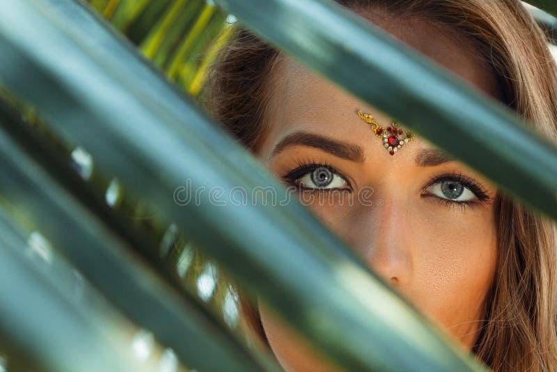 有灰色眼睛的美丽的在棕榈叶后的女孩和bindi 库存照片