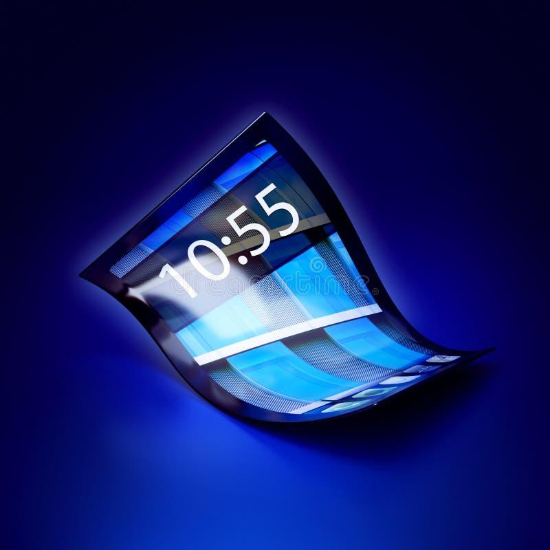 有灵活的屏幕的手机 库存例证