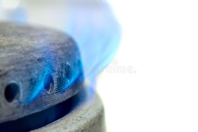 有灼烧的丙烷特写镜头的煤气喷燃器 免版税库存照片