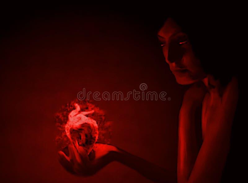 有灼烧的心脏的少女在棕榈 免版税库存照片