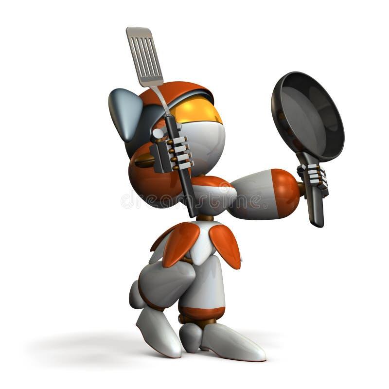 有炊事用具的逗人喜爱的机器人 她为技巧感到骄傲烹调 向量例证