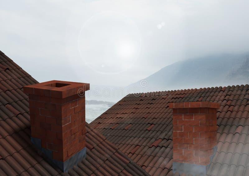 有烟囱和多云山的屋顶 库存图片