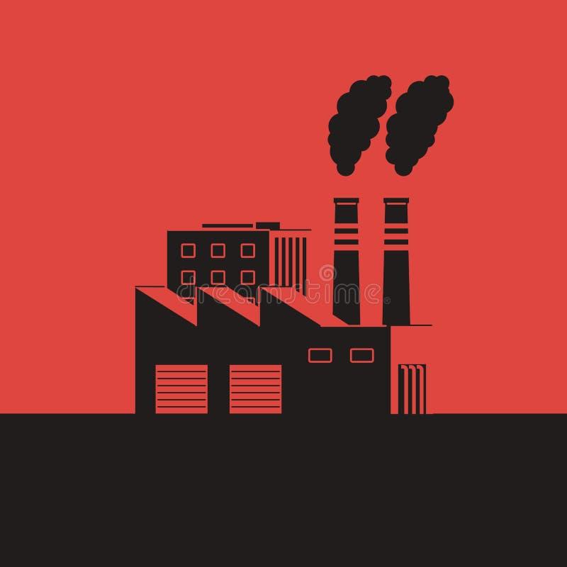 有烟斗的工厂在红色背景 空气污染概念 皇族释放例证