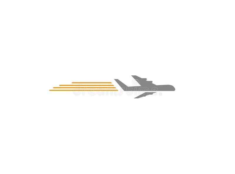 有烟的一架飞行的飞机商标的 向量例证