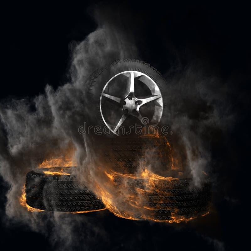 有烟的灼烧的自动轮子 库存例证