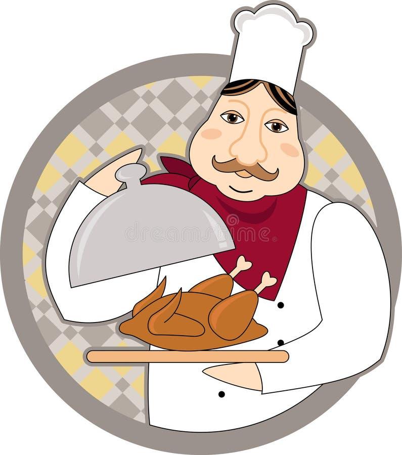 有烤鸡的厨师 免版税库存图片