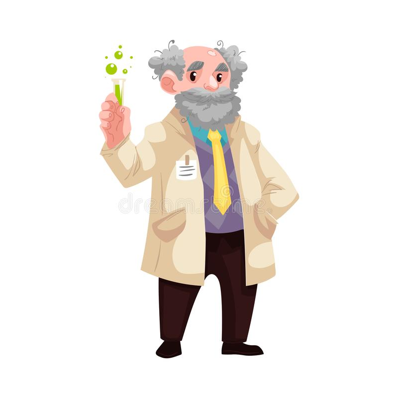 有烧瓶的传染媒介动画片老化学家科学家 库存例证
