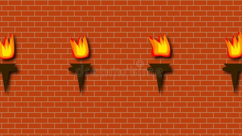 有烧的明亮的火炬砖红色墙壁在动画片样式,3d翻译背景,计算机生成 库存例证