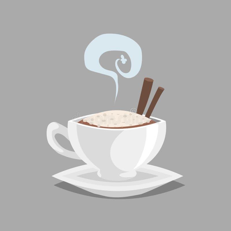 有热奶咖啡的咖啡杯和肉桂条和蒸汽 在上面的牛奶奶油色泡沫 动画片减速火箭的样式 caf的传染媒介例证 皇族释放例证