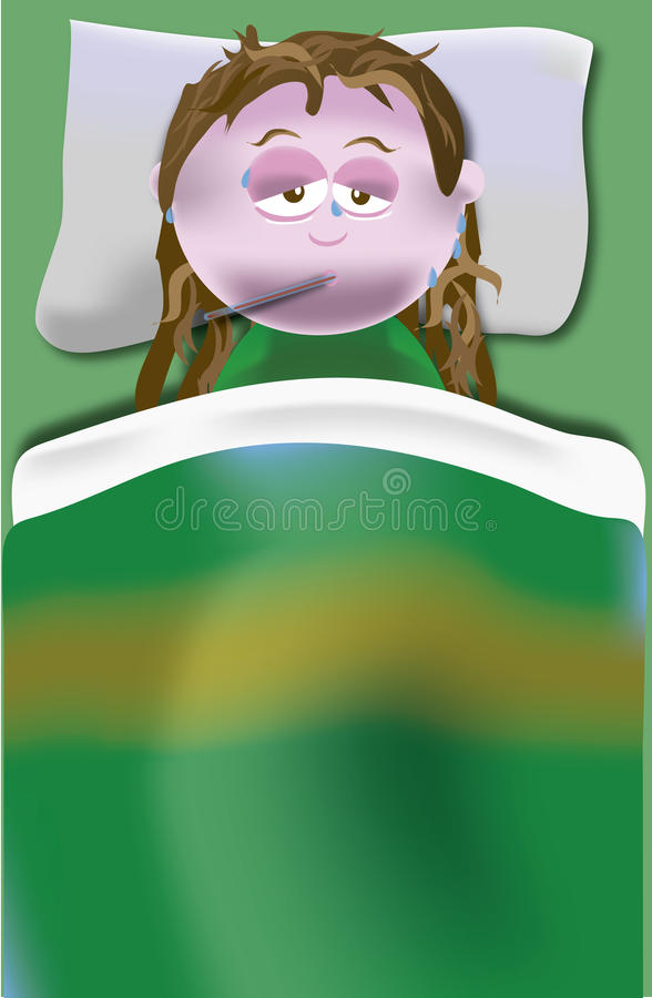 有热病和牢骚的女孩在床上 皇族释放例证