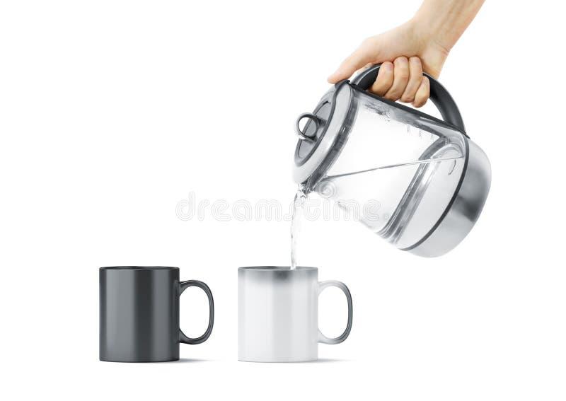 有热的茶壶大模型的空白黑白不可思议的杯子 免版税库存图片