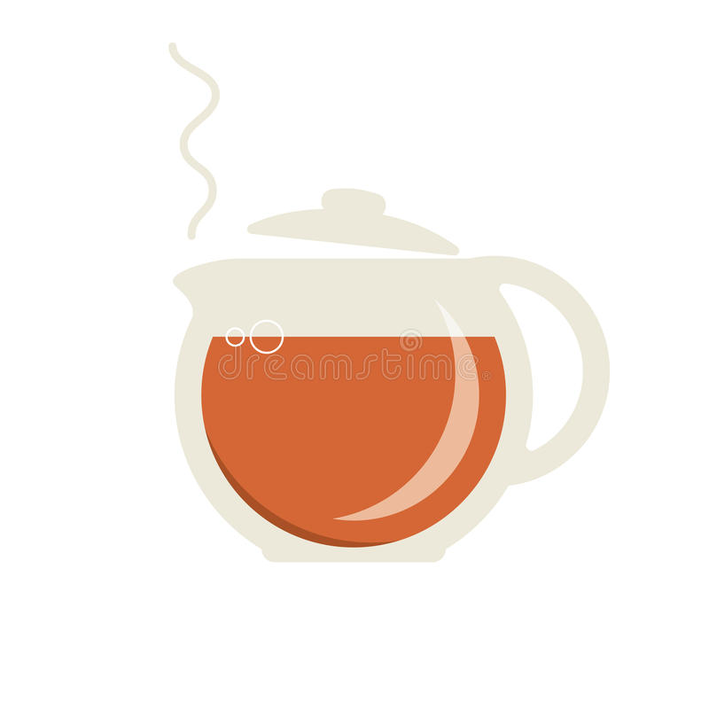 有热的茶象的玻璃茶壶 向量例证