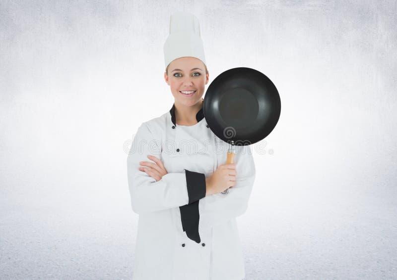 有煎锅的厨师反对白色背景 向量例证