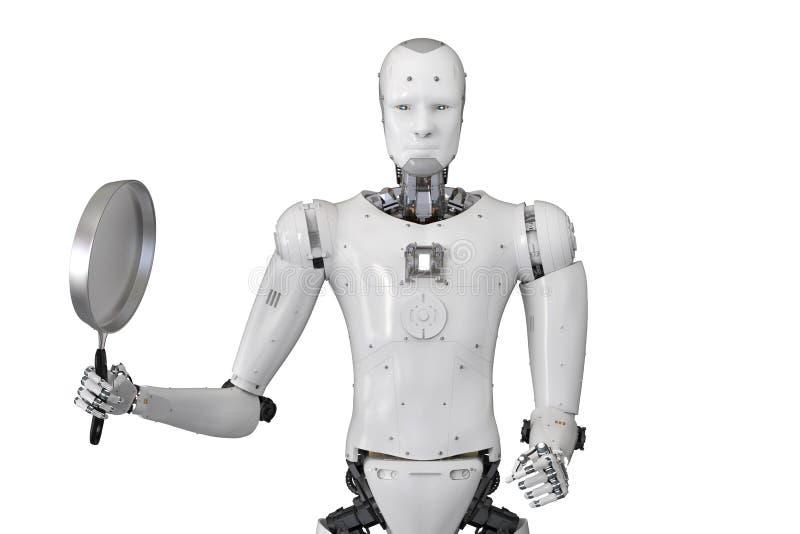 有煎锅的机器人 皇族释放例证
