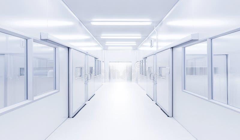 有照明设备的现代内部科学实验室从门户 库存图片