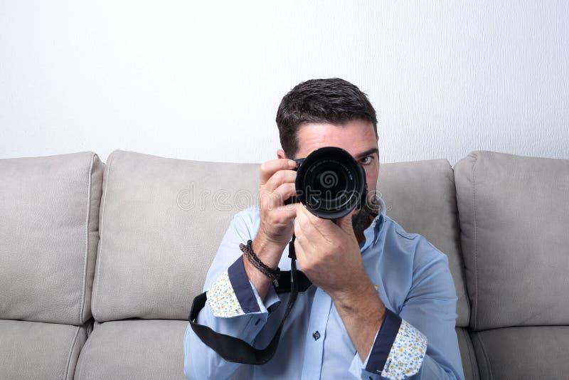 有照片照相机工作的人 库存照片