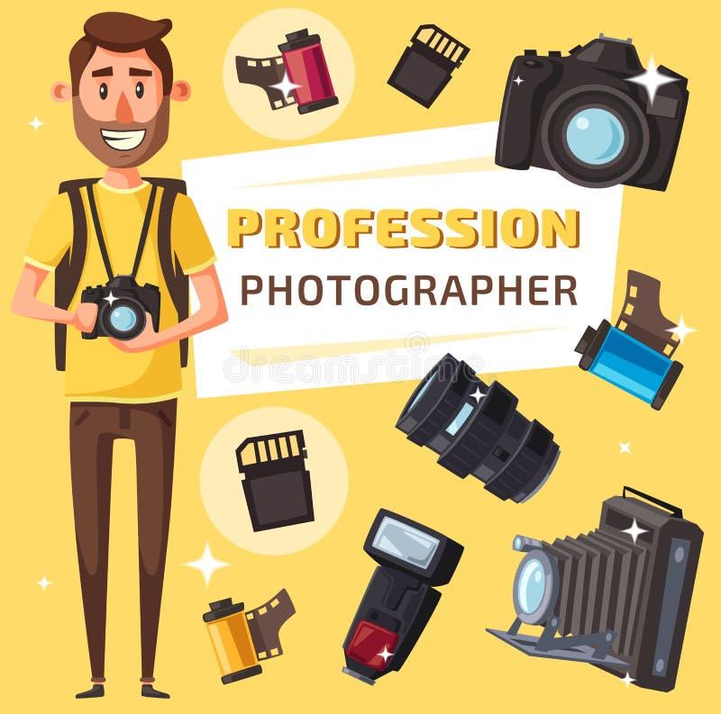 有照片项目和照相机的摄影师 皇族释放例证