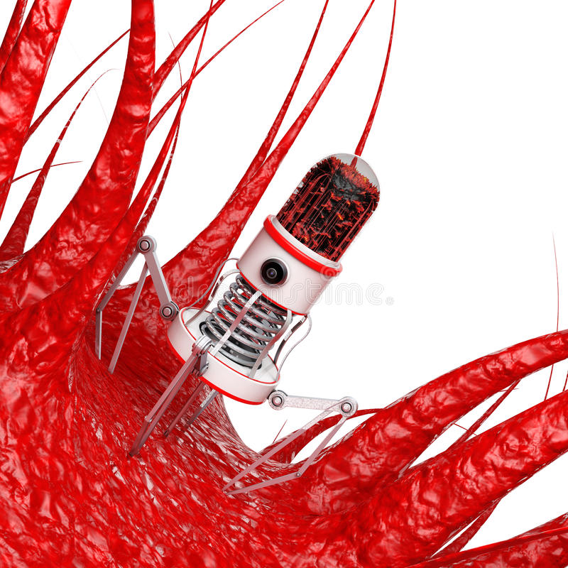 有照相机、爪和针的血液纳诺机器人在病毒, Bacte 向量例证