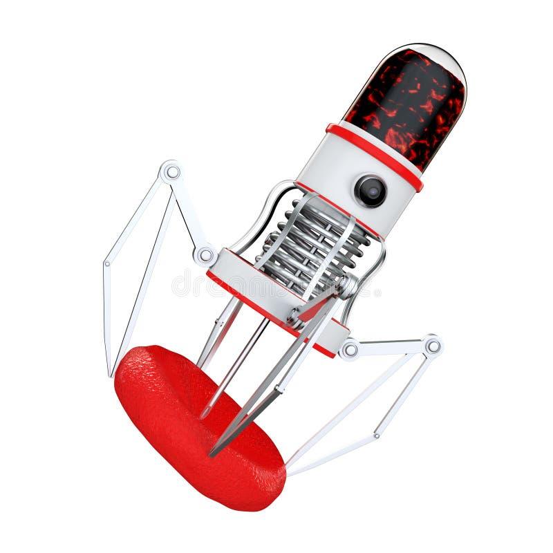 有照相机、爪和针的血液纳诺机器人在血细胞 库存例证