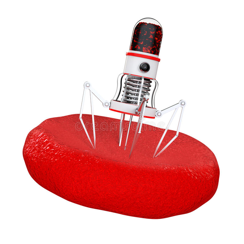 有照相机、爪和针的血液纳诺机器人在血细胞 皇族释放例证