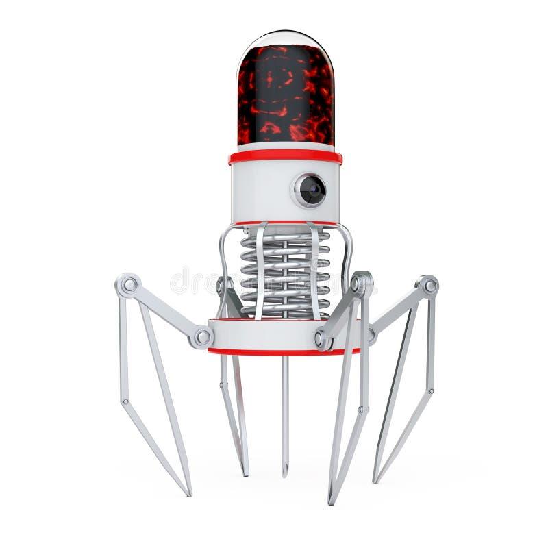 有照相机、爪和针的血液纳诺机器人 3d翻译 皇族释放例证