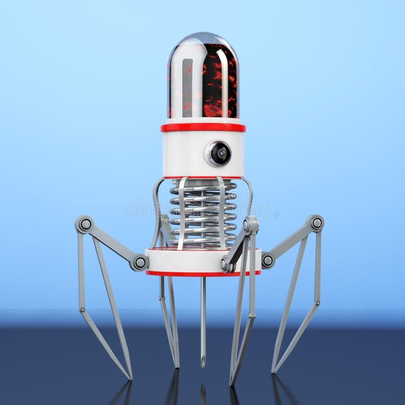 有照相机、爪和针的血液纳诺机器人 3d翻译 库存例证