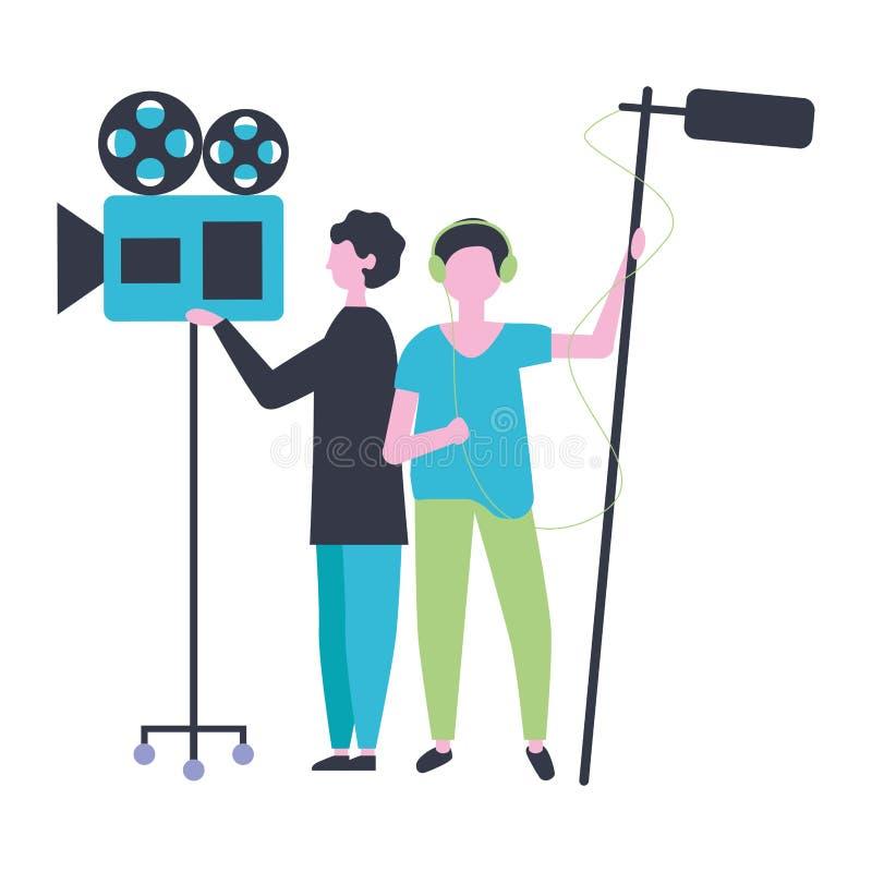 有照相机和话筒生产影片的两个人 库存例证