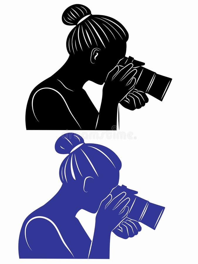 有照相机的剪影妇女 向量例证