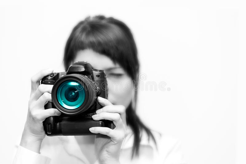 有照相机的妇女摄影师 库存图片