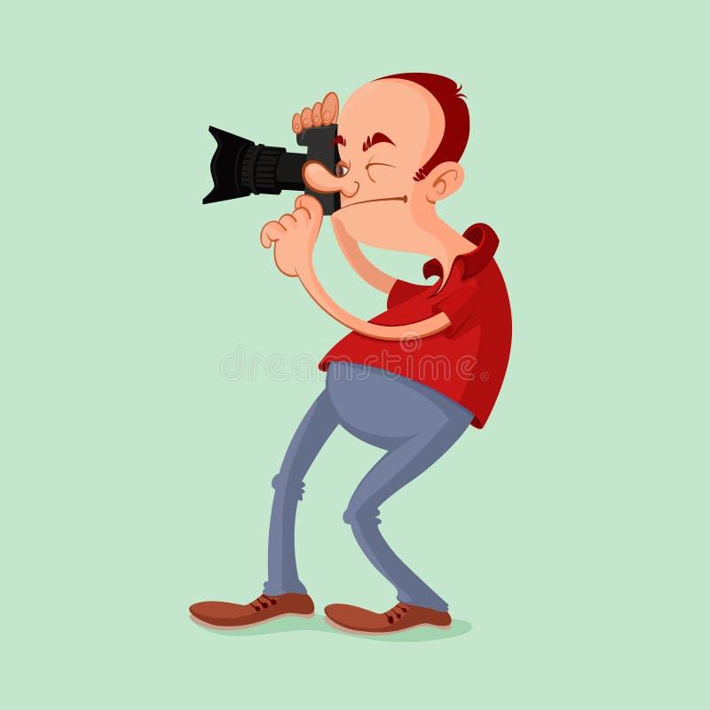 有照相机的摄影师 库存例证